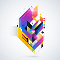 Abstract Geometric Element With Colorful Gradients And Glowing Lights. Corporate Futuristic Design, Useful For Presentations, Adve Stock Photos - 53450593