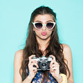 Hipster Woman Taking Photos With Retro Film Camera Royalty Free Stock Images - 53463039