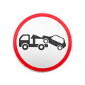Evacuation On Tow Truck. Round Road Sign Isolated Royalty Free Stock Photography - 53479277