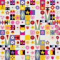 Abstract Art Hearts Flowers Retro Pattern Royalty Free Stock Image - 53500126