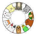 Pets In Circle With Copy Space Stock Images - 53500354