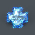 Blue Sapphire Cross Big Stone Stock Images - 53507854