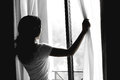 Young Woman Open Window Royalty Free Stock Photo - 53512015