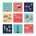 Hello Summer Doodle Colorful Square Icons Royalty Free Stock Photos - 53513638