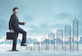 Business Man Climbing Up On Hand Drawn Buildings In City Royalty Free Stock Photography - 53519127