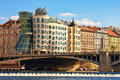 View Of The Dancing House And Embankment Of The Vltava River. Stock Photography - 53522322
