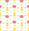 Seamless Pattern With Moneybox, Bank Notes, Coins, Flat Finance Icons Stock Photography - 53533392