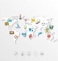 Map Of World Travel Concept, Simple Colorful Flat Icons Royalty Free Stock Photo - 53533545