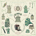 Vintage Colorful Icons, Objects And Design Royalty Free Stock Photography - 53550227