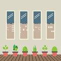 Four Glasses Windows With Pot Plants On Wooden Floor Royalty Free Stock Photo - 53560025