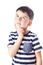 Thoughtful Boy With Finger On Chin Royalty Free Stock Image - 53569496
