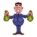 Happy Businessman With Bags Of Money Stock Photography - 53569822