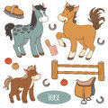 Set Of Farm Animals And Objects, Vector Family Horse Royalty Free Stock Photos - 53579568