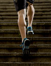 Athlete Man With Strong Leg Muscles Training And Running Urban City Staircase In Sport Fitness And Healthy Lifestyle Concept Royalty Free Stock Photography - 53583817