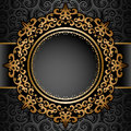 Gold Circle Frame Over Pattern Royalty Free Stock Images - 53590299