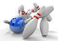 Blue 3D Bowling Ball Smashing Into Pins For A Strike Stock Photography - 53593402