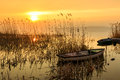 Sunset On The Lake Balaton With A Boat Royalty Free Stock Photos - 53593838