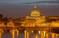 Rome - Angels Bridge And St. Peters Basilica In Evening Royalty Free Stock Images - 53598549