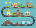 Urban Landscape In Flat Design. City Life With Modern Icons Of U Stock Images - 53602534