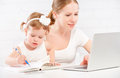 Happy Family Mother And Child Baby At Home Working On Computer Royalty Free Stock Images - 53611059
