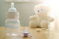 Baby Bottle, Pacifier And A Baby S Toy Stock Photography - 53615672