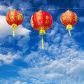 Red Chinese Paper Lanterns Against Stock Photos - 53617533