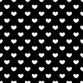 Seamless Pattern Of White Hearts On A Black Background. Royalty Free Stock Photos - 53621468