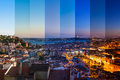 Aerial View Montage Of Lisbon Rooftop From Senhora Do Monte View Royalty Free Stock Images - 53625799