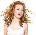 Beauty Model Girl With Blonde Curly Hair Stock Images - 53635984