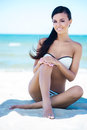 Gorgeous And Beautiful Young Girl On A Summer Beach Stock Photos - 53643463