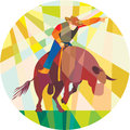 Rodeo Cowboy Bull Riding Pointing Low Polygon Stock Image - 53652471