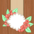 Retro Label Over Brown Wood With Red Flowers And Leaves Stock Photography - 53659642