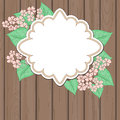 Retro Label With Pink Flowers Over Wood Royalty Free Stock Photography - 53659737