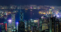 Night Aerial View Panorama Of Hong Kong Skyline Royalty Free Stock Images - 53660629
