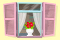 Window Shutters Flower Retro Blinds  Royalty Free Stock Photography - 53662697