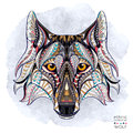 Patterned Head Of The Wolf Royalty Free Stock Images - 53667499