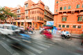 Motion Blur Of Driving Cars On The Busy Asian Street Full Of Cycles Royalty Free Stock Image - 53671496