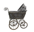 Old Black Baby Carriage Isolated. Royalty Free Stock Photos - 53678288
