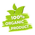 100 Percent Organic Product With Leaf Sign, Green Drawn Label Royalty Free Stock Photography - 53679367