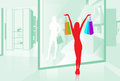 Woman Hold Shopping Bags Shop Window Vector Royalty Free Stock Photos - 53687038