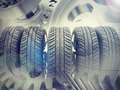 Car Wheels On Abstract Background Royalty Free Stock Images - 53692139