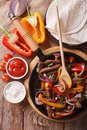 Delicious Fajitas On A Table In A Rustic Style. Vertical Top Vie Royalty Free Stock Image - 53699146