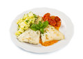 White Dish Of Fresh Black Cod With Potatoes Royalty Free Stock Photo - 53699595