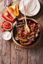 Mexican Fajitas On A Table, Rustic Style Vertical Top View Stock Photo - 53699720