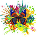 Butterfly, Tropical Leaves And Exotic Flower Royalty Free Stock Photos - 53702868