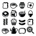 Breakfast Food Vector Icons Set - Toast, Eggs, Bacon, Coffee Royalty Free Stock Images - 53704959