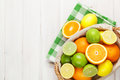 Citrus Fruits In Basket. Oranges, Limes And Lemons Stock Photos - 53713613