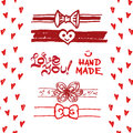 Set Of Cute Ribbons, Bows, Hearts. Stock Photography - 53714022