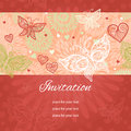 Floral Background With Lacy Heart And Butterflies. Stock Images - 53714904