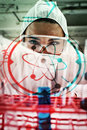 Composite Image Of Portrait Of A Protected Science Student Dropping Liquid In A Test Tube Royalty Free Stock Photography - 53741817